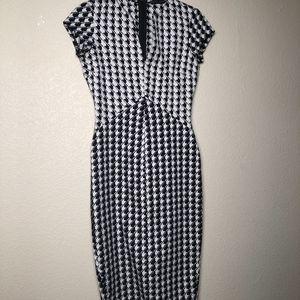 Zara Basics | Black and White V Neck Long Dress XS